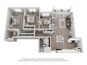 C1 Floor Plan at Valley Lo Towers, Glenview, 60025