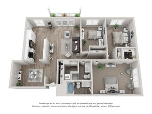 C3 Floor Plan at Valley Lo Towers, Glenview