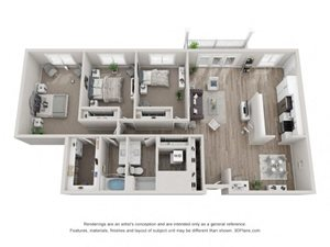 C4 Floor Plan at Valley Lo Towers, Illinois