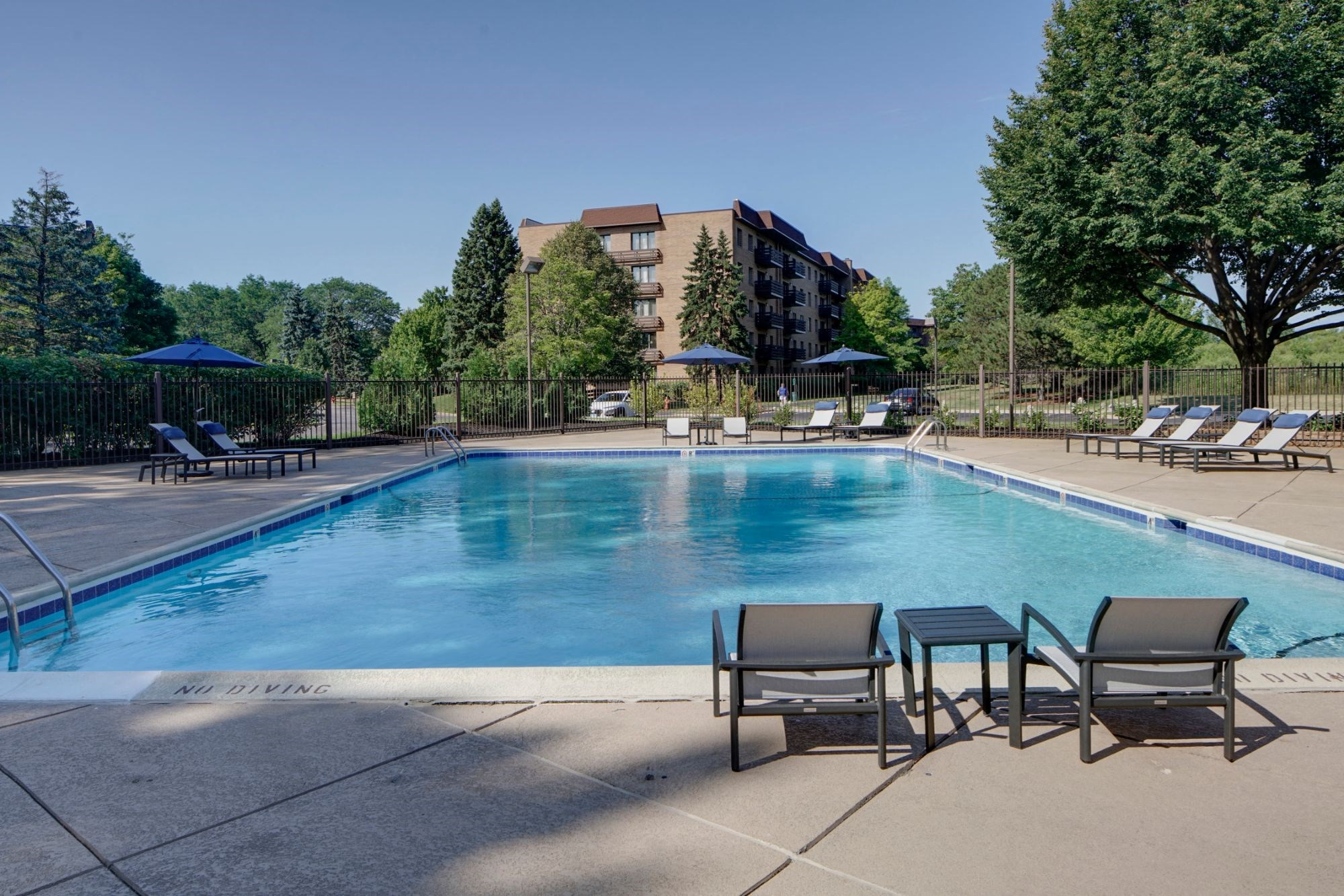 Pool Side Relaxing Area With Sundeck, at Valley Lo Towers, Glenview Illinois