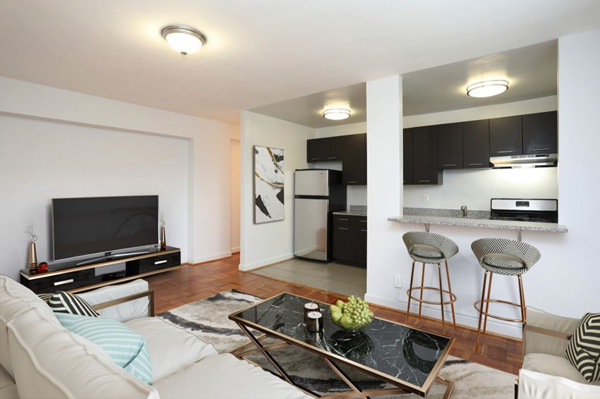 Living Room And Kitchen At Macomb Gardens Apartments In Washington D.C.