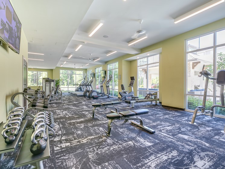 Spacious Fitness Center at The Flats at Ballantyne Apartments, Charlotte, North Carolina