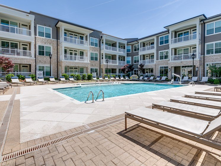 Sparkling Swimming Pool at The Flats at Ballantyne Apartments, Charlotte, North Carolina