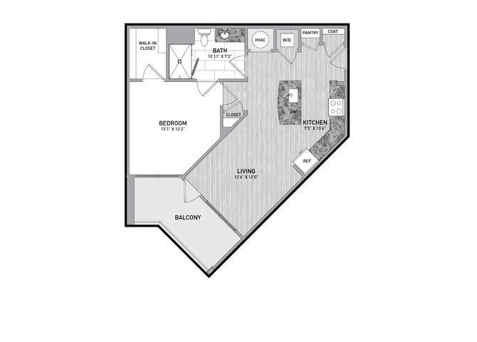 1 Bedroom 1 Bath Floor Plan at The Flats at Ballantyne Apartments, North Carolina