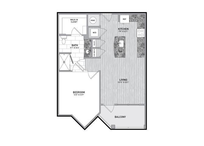 1 Bedroom 1 Bath Floor Plan at The Flats at Ballantyne Apartments, Charlotte, NC, 28277