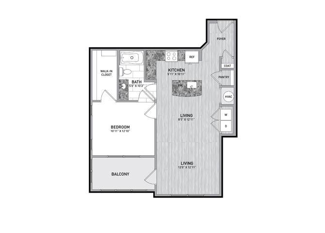 1 Bedroom 1 Bath Floor Plan at The Flats at Ballantyne Apartments, Charlotte, 28277