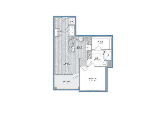 1 Bedroom 1 Bath Floor Plan at The Flats at Ballantyne Apartments, Charlotte, North Carolina