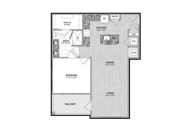 1 Bedroom 1 Bath Floor Plan at The Flats at Ballantyne Apartments, Charlotte