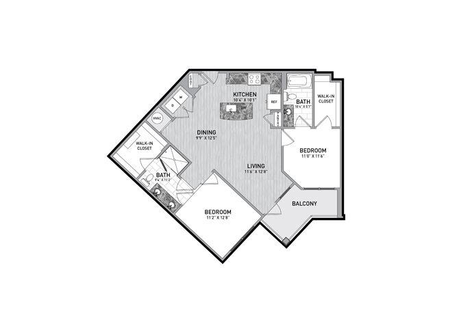 2 Bedroom 2 Bath Floor Plan at The Flats at Ballantyne Apartments, North Carolina