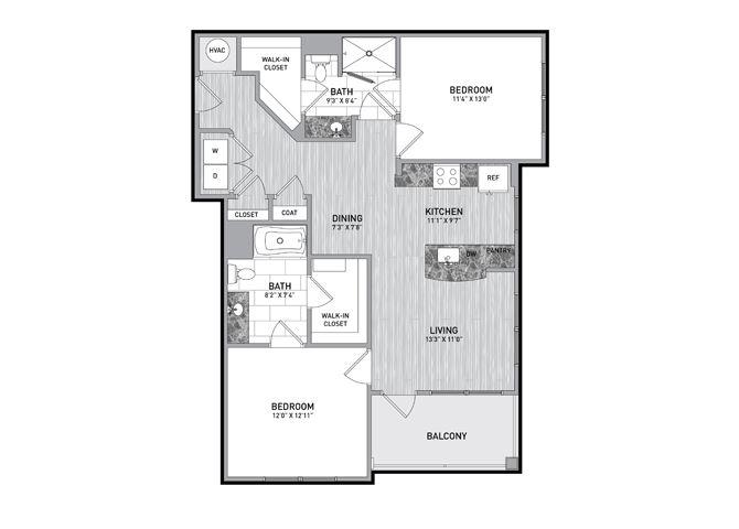 2 Bedroom 2 Bath Floor Plan at The Flats at Ballantyne Apartments, North Carolina, 28277