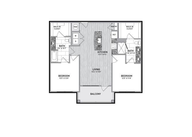 2 Bedroom 2 Bath Floor Plan at The Flats at Ballantyne Apartments, Charlotte, NC, 28277