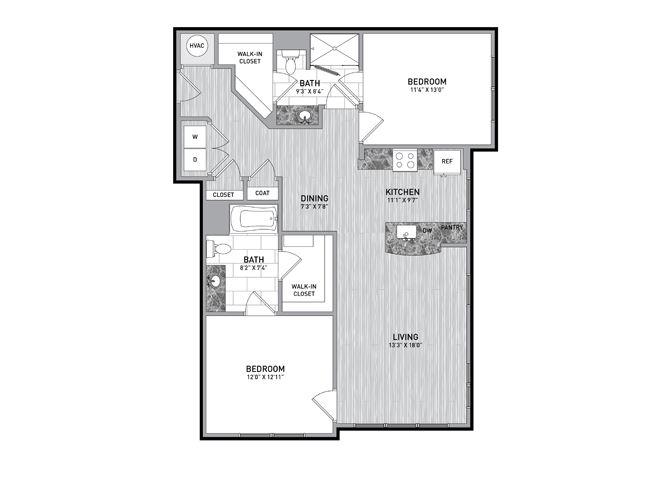 2 Bedroom 2 Bath Floor Plan at The Flats at Ballantyne Apartments, Charlotte, 28277