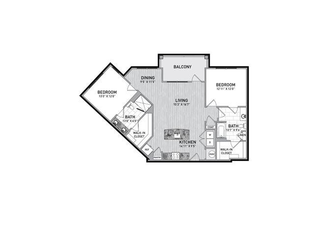 2 Bedroom 2 Bath Floor Plan at The Flats at Ballantyne Apartments, Charlotte, North Carolina