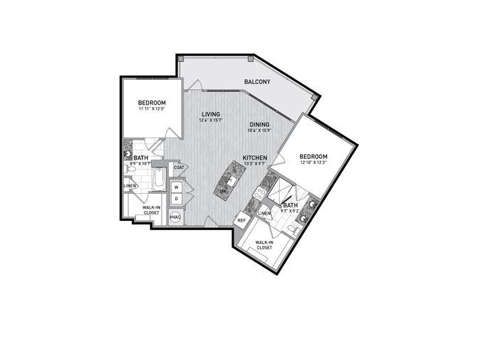 2 Bedroom 2 Bath Floor Plan at The Flats at Ballantyne Apartments, Charlotte