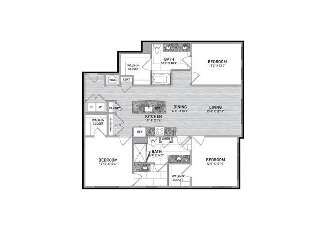 3 Bedroom 2 Bath Floor Plan at The Flats at Ballantyne Apartments, North Carolina, 28277