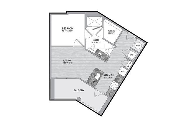Studio Floor Plan at The Flats at Ballantyne Apartments, Charlotte, 28277