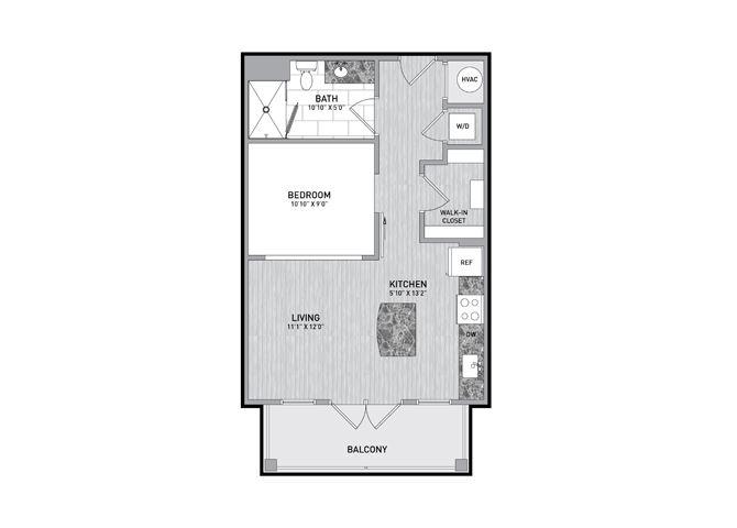 Studio Floor Plan at The Flats at Ballantyne Apartments, Charlotte, NC