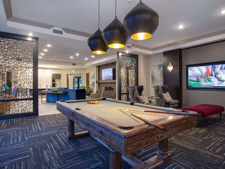 Game Room with Pool Table at The Flats at Ballantyne Apartments, Charlotte, North Carolina