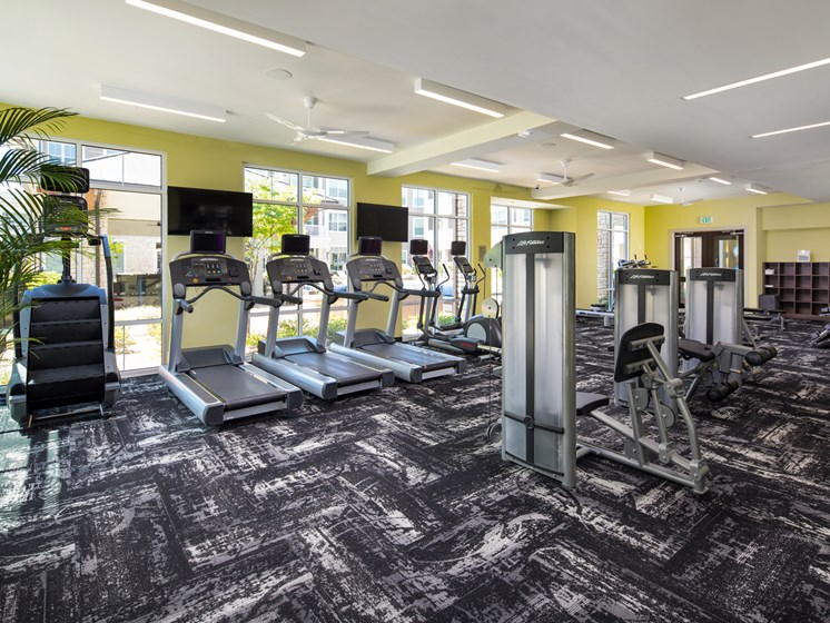 Fitness Center with Cardio and Weight Lifting Equipment at The Flats at Ballantyne Apartments, Charlotte, NC, 28277