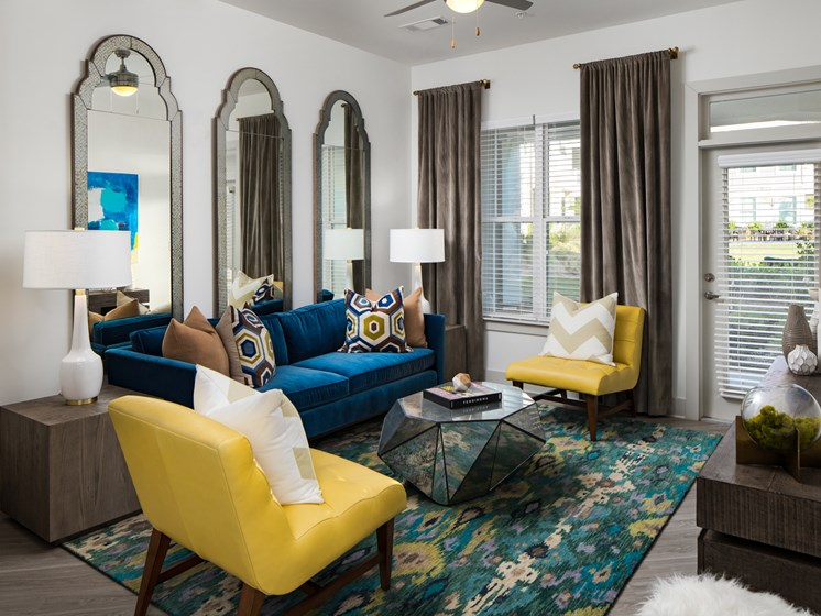 Trendy Living Room at The Flats at Ballantyne Apartments, Charlotte