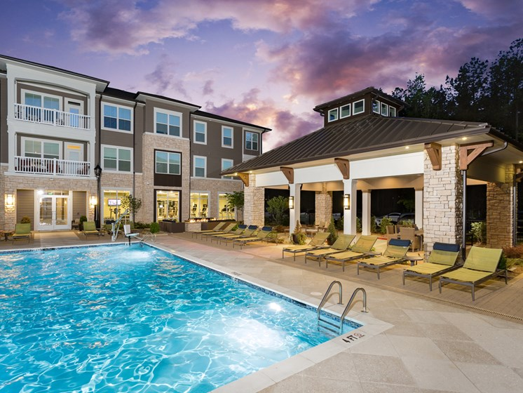 Pool Side Relaxing Area at The Flats at Ballantyne Apartments, Charlotte, North Carolina