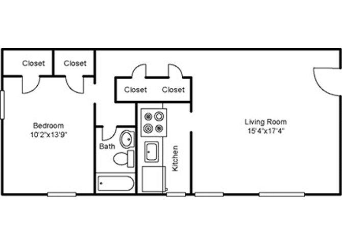One Bedroom Deluxe Floor Plan 3