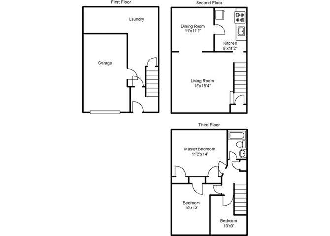 Three Bedroom Townhouse Floor Plan 6
