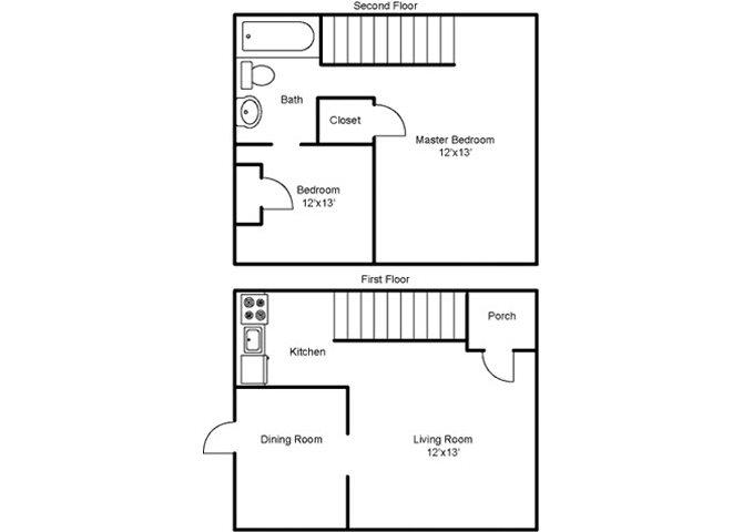 Two Bedroom Townhouse Floor Plan 5