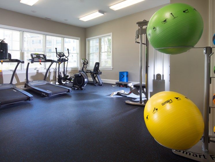 Medicine and yoga balls in fitness center at Abbott Landing apartments 01810