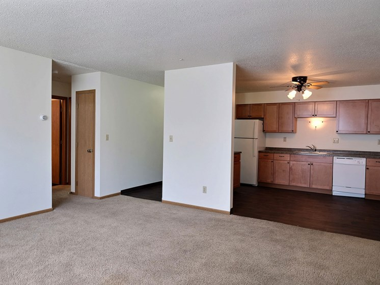 Cedar Square Apartments | 2 Bdrm - Kitchen-Living Rm