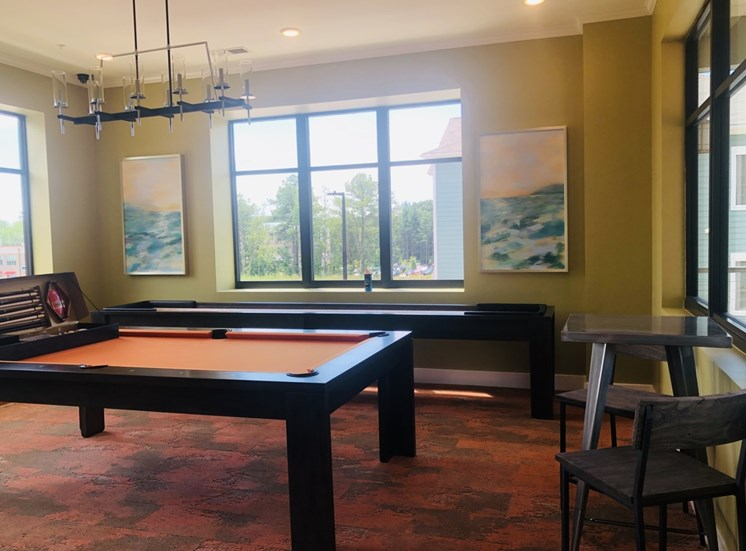 Game Room with Billiard Table and Shuffleboard