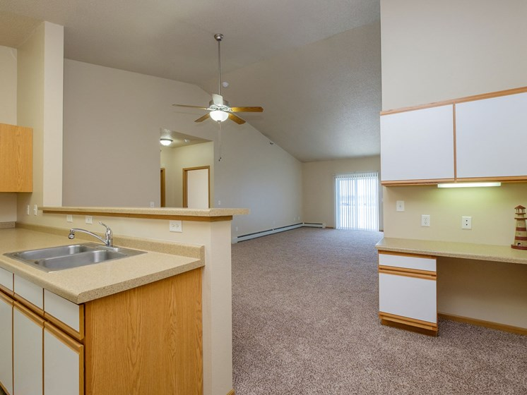 West Lake Apartments | 3 Bdrm - Kitchen-Living Rm-Plan A