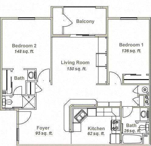 Canyon Village Two Bedroom Floor Plan
