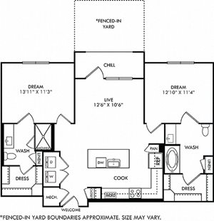 Baylor with Yard floorplan with L-shaped Kitchen, island, pantry cabinet, open to living, 2 baths with tub and other with shower. Walk-in closets. balcony. in-unit washer/dryer