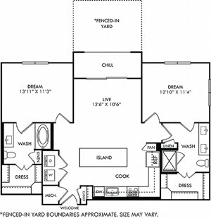 3D Brooks with yard 2 bedroom floor plan with entry closet, L-shaped kitchen with Island and pantry cabinet, open to living area, 2 bathrooms one with tub one with shower and double sinks. washer/dry.