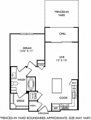 Hamer with Fenced-in Yard, 1 Bedroom apartment floorplan. in-unit stacked washer/dryer, Lshaped kitchen with island open to Living area. hallway closet, 1 bathroom with linen cabinet and walk-