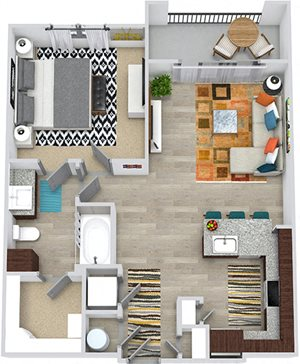 3D Armstrong 1 Bedroom apartment floor plan. Entry closet, kitchen with peninsula island and pantry, open to living space, 1 bathroom with linen cabinet and walk-in closet. in-unit laundry, balcony.