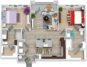 3d Baylor floorplan with L-shaped Kitchen, island, pantry cabinet, open to living, 2 baths with tub and other with shower. Walk-in closets. balcony. in-unit washer/dryer