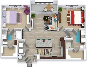 3D Brooks 2 bedroom apartment floor plan with entry closet, L-shaped kitchen with Island and pantry cabinet, open to living area, 2 bathrooms one with tub one with shower and double sinks. washer/dry.
