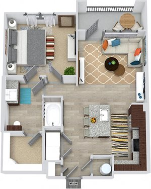 3D Hall 1 bedroom floor plan apartment. Entry closet, in-unit washer/dryer. Lshaped kitchen with island. living area. 1 bath with walk-in closet. balcony.