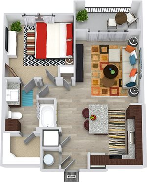 3D Hamer 1 Bedroom apartment floorplan. in-unit stacked washer/dryer, Lshaped kitchen with island open to Living area. hallway closet, 1 bathroom with linen cabinet and walk-in closet. Balcony.