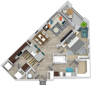 3D Jones 1 bedroom apartment floorplan. Entry closet, kitchen with peninsula island, open to dining-living area. in-unit washer/dryer, 1 bathroom with linen cabinet and walk-in closet. Balcony