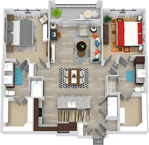 3D McDonald 2 Bedroom with entry closet, Kitchen with island and pantry cabinet, open to dining-living area, 1 bath with shower, 1 bath with double sink and tub. walk-in closets. washer/dryer. balcony