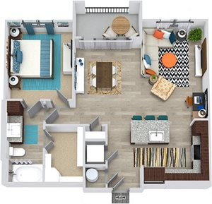 3D Walker 1 Bedroom floor plan apartment with entry closet. L-shaped kitchen with island and pantry cabinet, open to living-dining area, 1 bath with and walk-in closet. in-unit laundry. balcony.