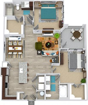 3D Wallace 2 bedroom, entry closet, L-shaped kitchen with island and pantry, open to living-dining room, 1 bath with double vanity, and tub, 1 bath with shower. Walk-in closets. Balcony. washer/dryer.