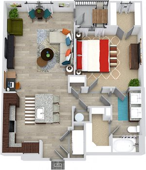 3D Wright 1 bedroom floor plan apartment with L-shaped kitchen with island and pantry cabinet, open to living-flex space, hall closet, one bath with double sinks and 2 walk-in closets. Balcony.