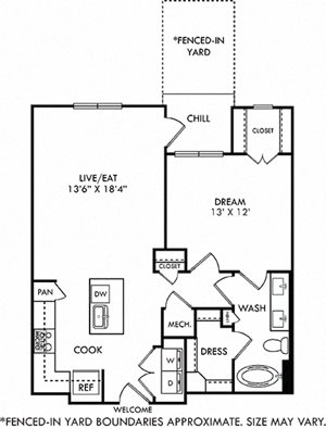 Wright with Fenced-in Yard 1 bedroom floor plan apartment with L-shaped kitchen with island and pantry cabinet, open to living-flex space, hall closet, bath with 2 sinks and 2 walk-in closets. balcony
