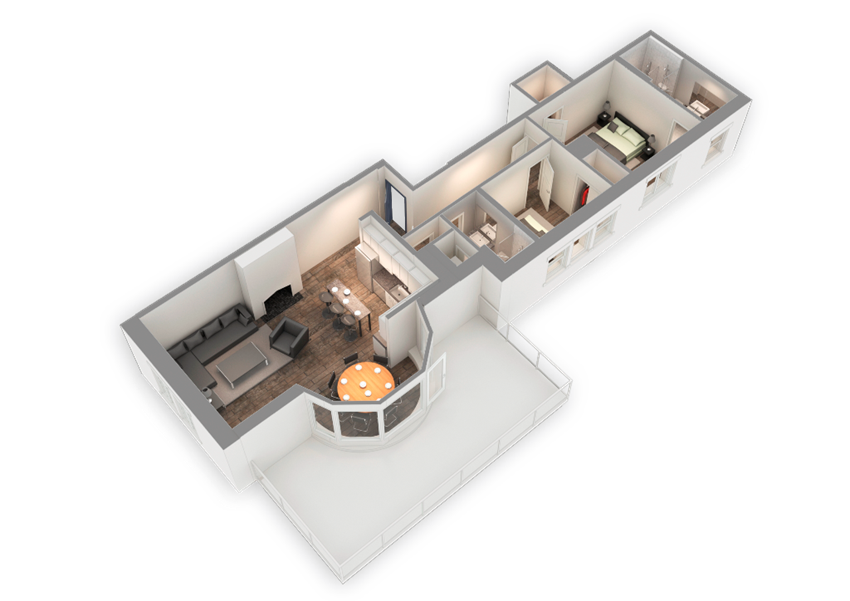 The Penthouse 1187 SQFT 3D View at Park Heights by the Lake Apartments, Illinois, 60649