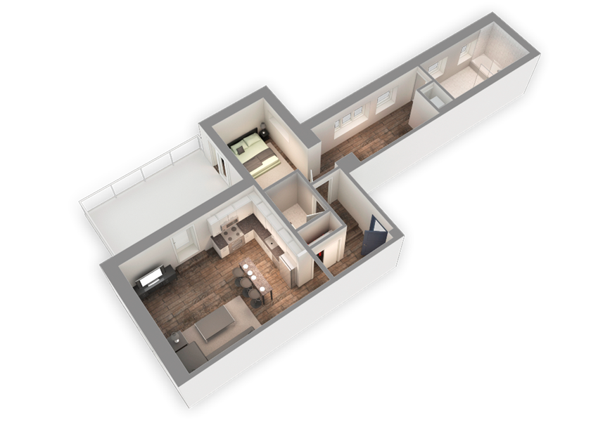 The Penthouse 1034 SQFT 3D View at Park Heights by the Lake Apartments, Illinois
