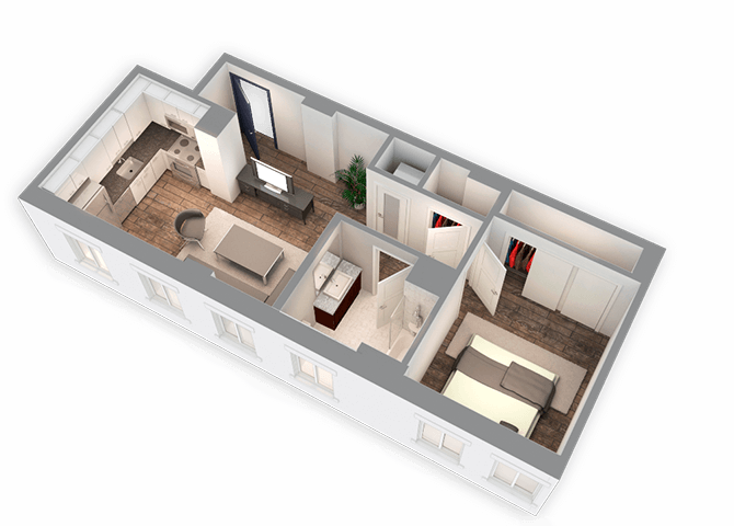 625 SQFT 1 Bed 1 Bath 3D View Floor Plan at Park Heights by the Lake Apartments, Illinois, 60649
